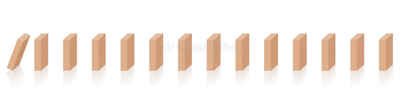 Stycken för Chain reaktion för domino fallande trä royaltyfri illustrationer