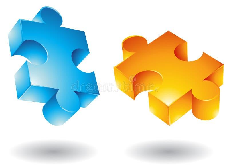 stycken för jigsaw 3d royaltyfri illustrationer