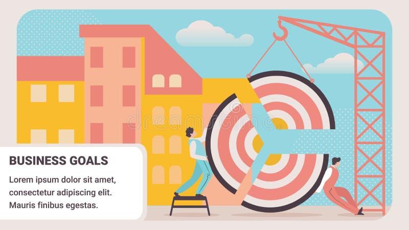 Stycken för mål för kontorsfolk monterande med kranen vektor illustrationer