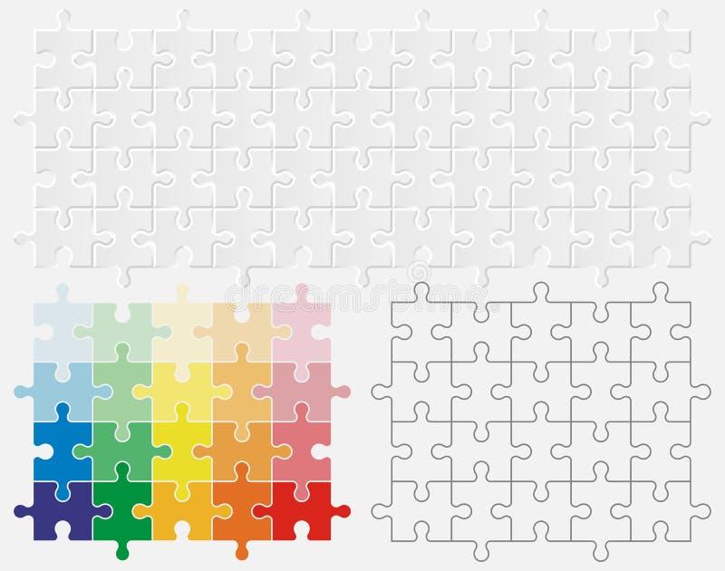 stycken för pussel 3D och lägenhetfärgpussel royaltyfri illustrationer