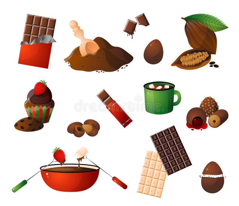 Stycken, shavings av choklad, olika chocosötsaker och kakaofruktuppsättning stock illustrationer