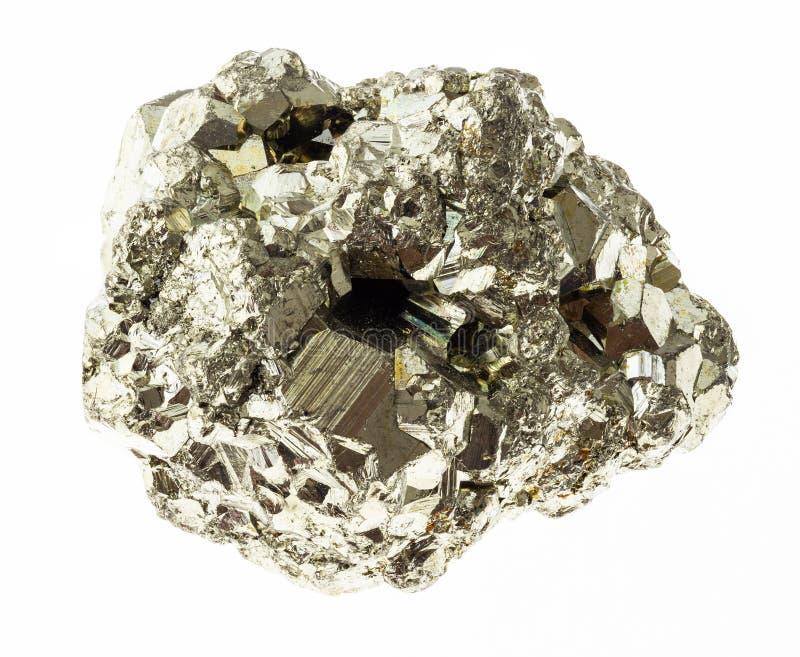 stycket av järnpyrit (svavelpyrit) vaggar på vit royaltyfria bilder