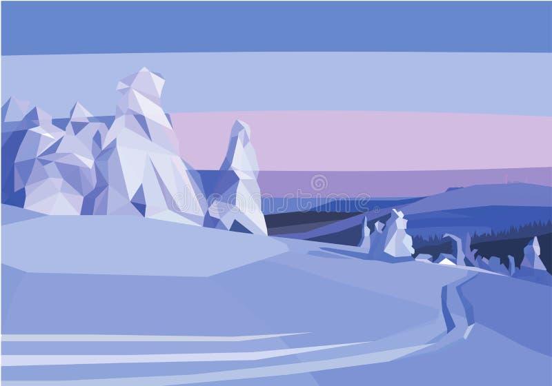 Styczeń 33c krajobrazu Rosji zima ural temperatury śnieżni drzewa i pole wielobok royalty ilustracja