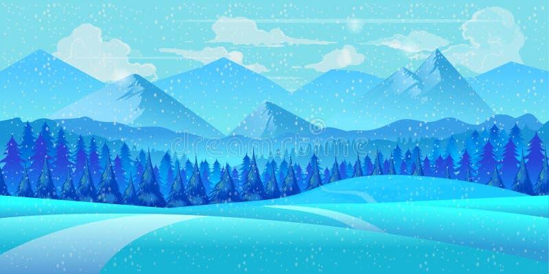 Styczeń 33c krajobrazu Rosji zima ural temperatury ilustracja ilustracja wektor