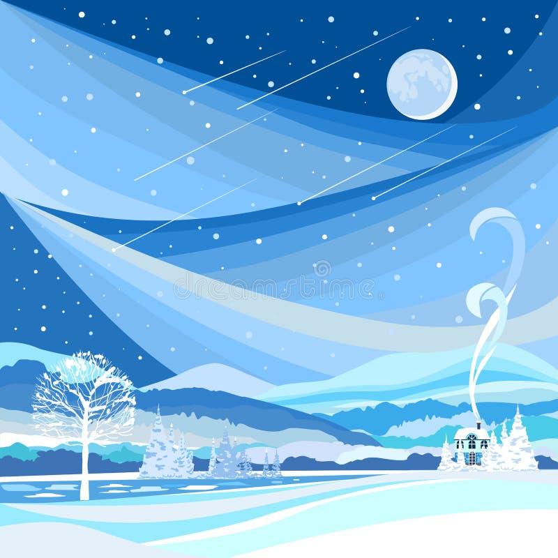 Styczeń 33c krajobrazu Rosji zima ural temperatury Noc krajobraz z Starfall i księżyc royalty ilustracja