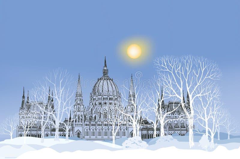Styczeń 33c krajobrazu Rosji zima ural temperatury Parkowa aleja w śniegu z pałac i drzewa na półdupkach ilustracji