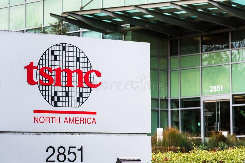 styczeń 12, 2020 San Jose / CA / USA - Tajwan Siedziba Semiconductor Manufacturing Company TSMC w Dolinie Krzemowej; TSMC obraz stock