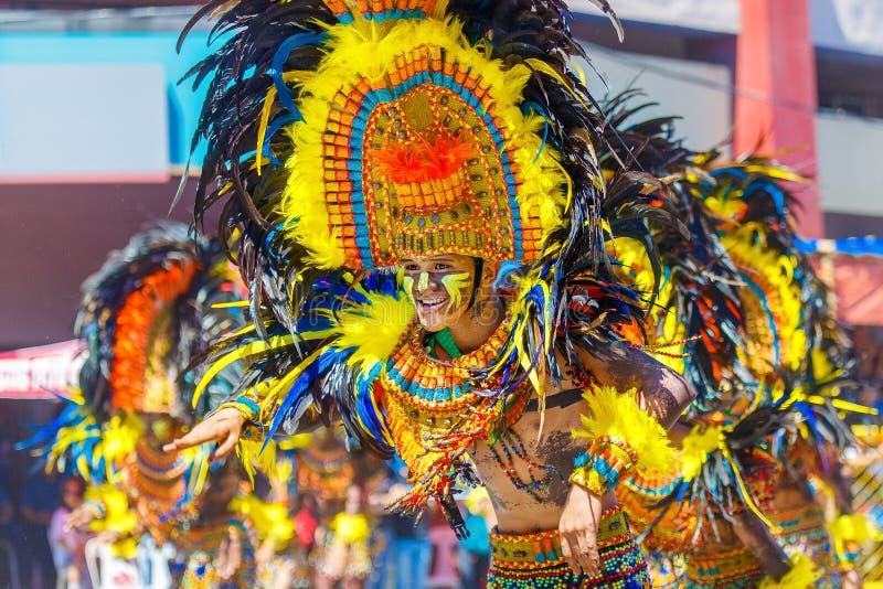 Styczeń 24th 2016 Iloilo, Filipiny Festiwal Dinagyang Unid fotografia stock