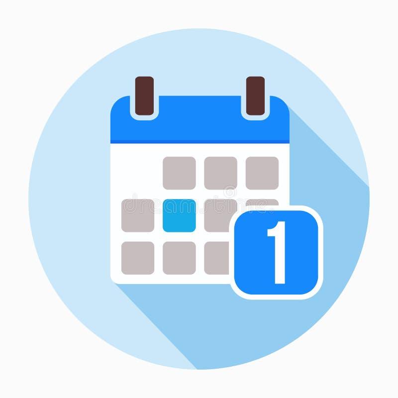 1 Stycznia kalendarzowej daty ikony wektor, wypełniający mieszkanie znak ilustracja wektor