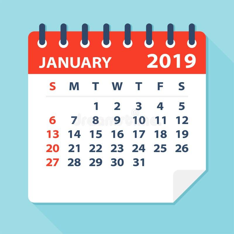 Stycznia 2019 Kalendarzowy liść - Wektorowa ilustracja royalty ilustracja