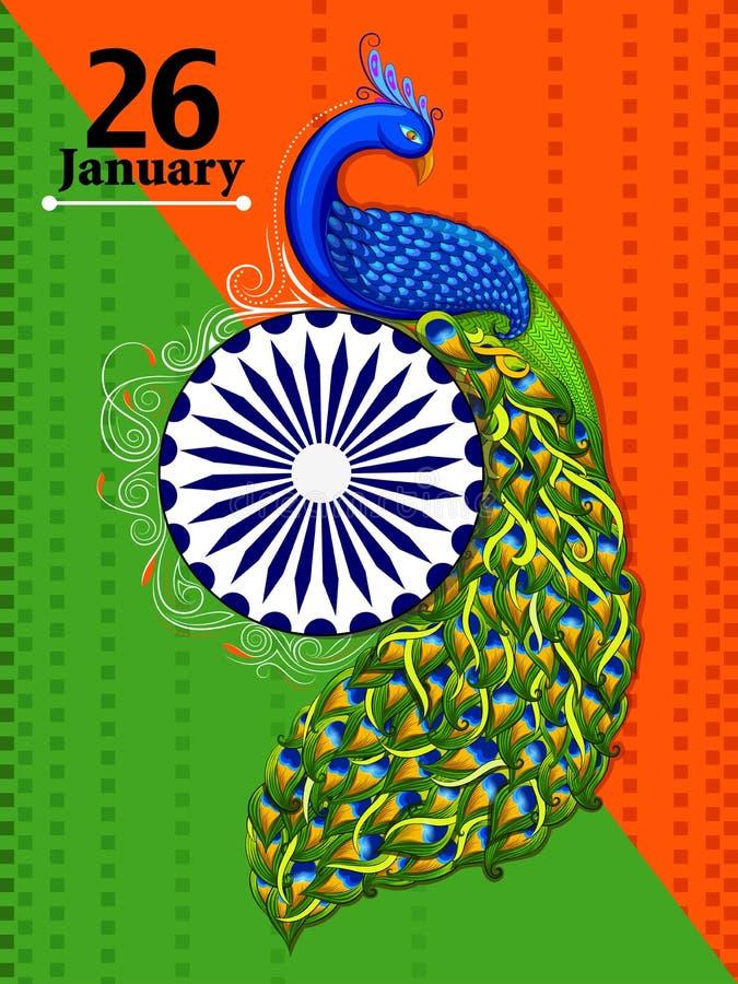 26 Stycznia republiki Szczęśliwy dzień India tło royalty ilustracja
