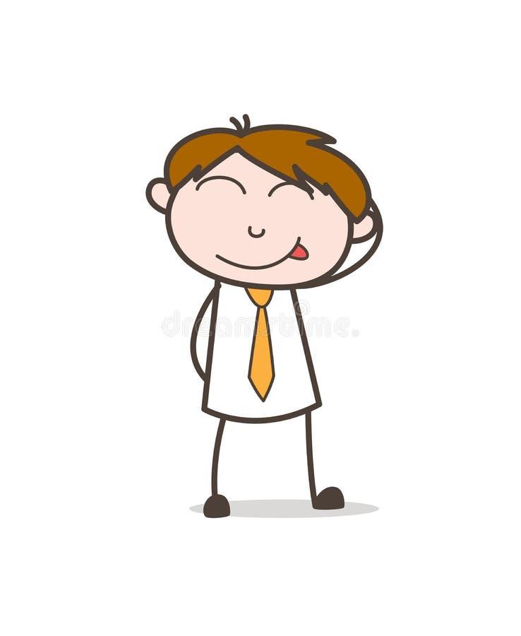 Stygg blyg pojke som ler framsidavektorn vektor illustrationer