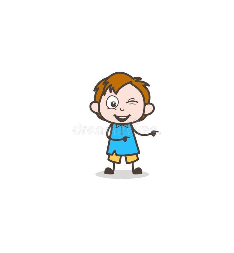 Stygg pojke som blinkar ögat och pekar fingret - gullig tecknad filmungevektor vektor illustrationer