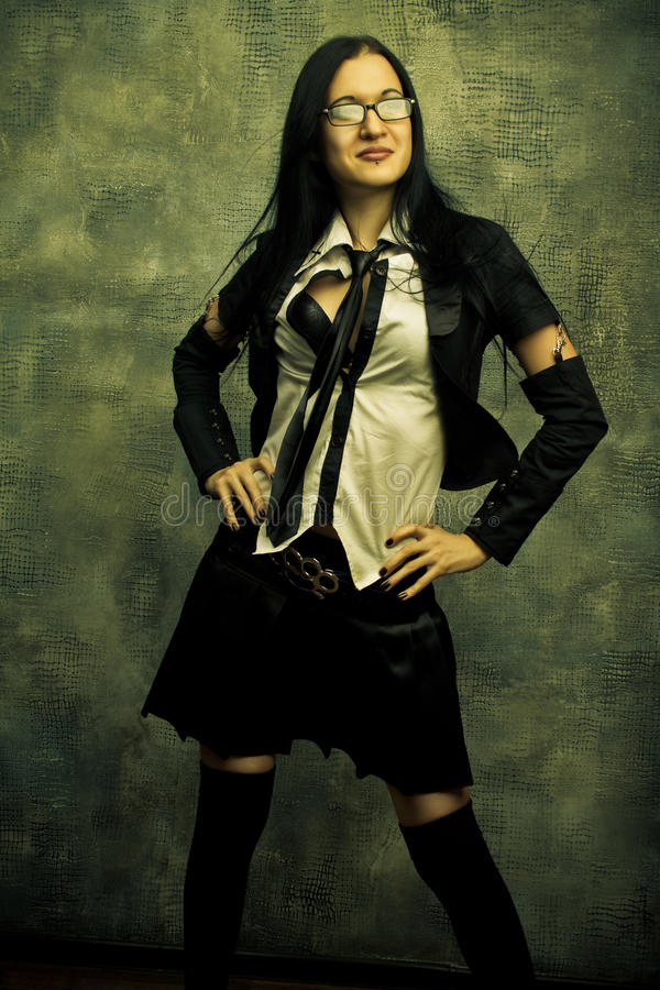 Stygg schoolgirl royaltyfria foton