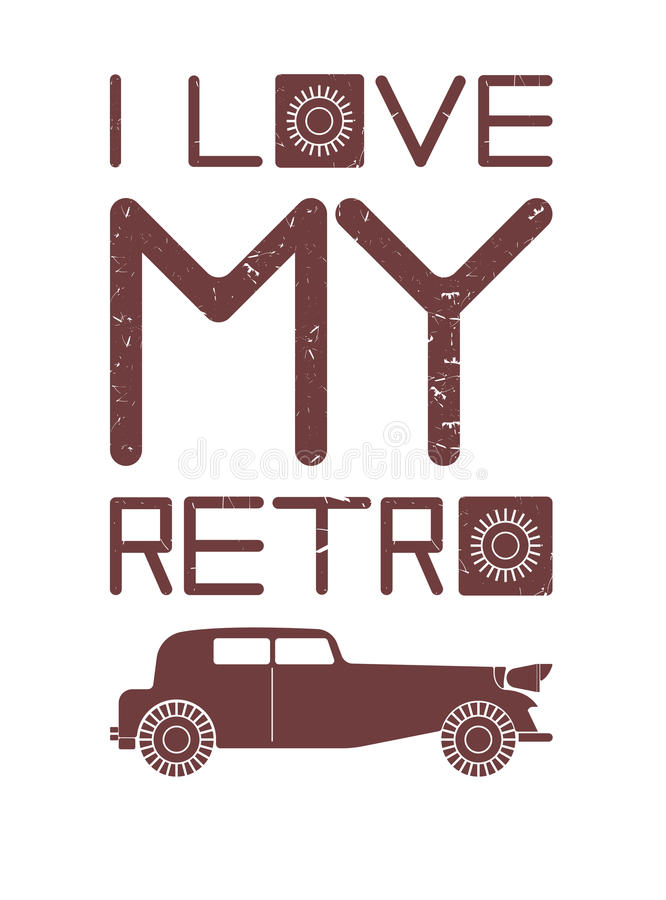 Styish image with red retro car. Vintage red car with text on white background can be used for covers, greeting cards, tops and more creative designs vector illustration