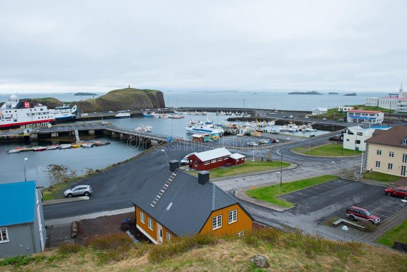 Stykkisholmur harbor, Snaefellsnes peninsula, Iceland royalty free stock images