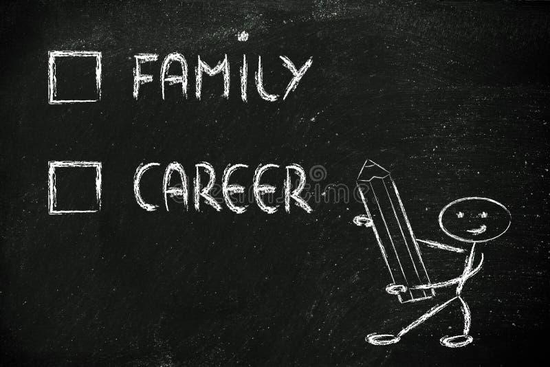 Stylów życia wybory: wieloskładnikowego wyboru test, rodzina lub kariera, zdjęcie stock