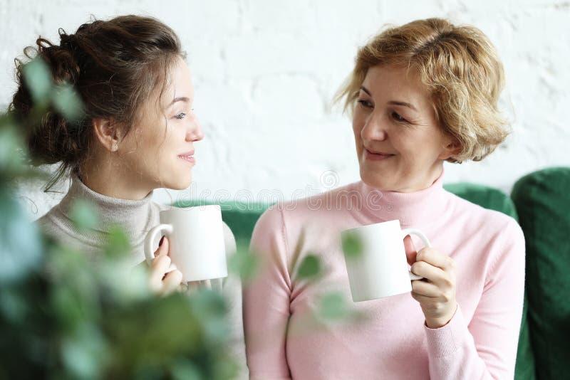 Styl życia i ludzie pojęć: Dwa pięknej kobiety matka i córki obsiadanie na kanapie w domu obrazy stock