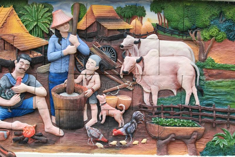 Styl życia i rodzinne fotografie na ścianach świątynia Miasto Bangkok, Tajlandia zdjęcie stock