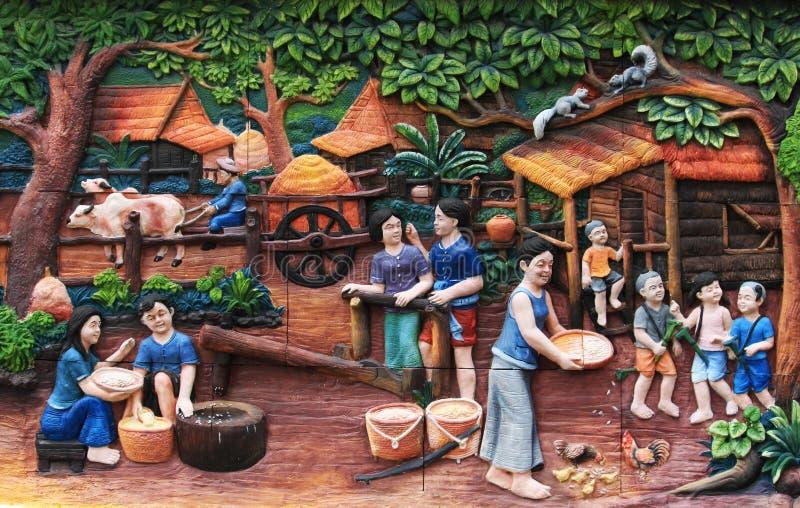 Styl życia i rodzinne fotografie na ścianach świątynia Miasto Bangkok, Tajlandia fotografia royalty free