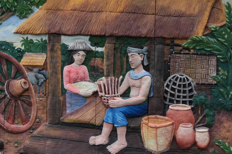 Styl życia i rodzinne fotografie na ścianach świątynia Miasto Bangkok, Tajlandia obraz stock