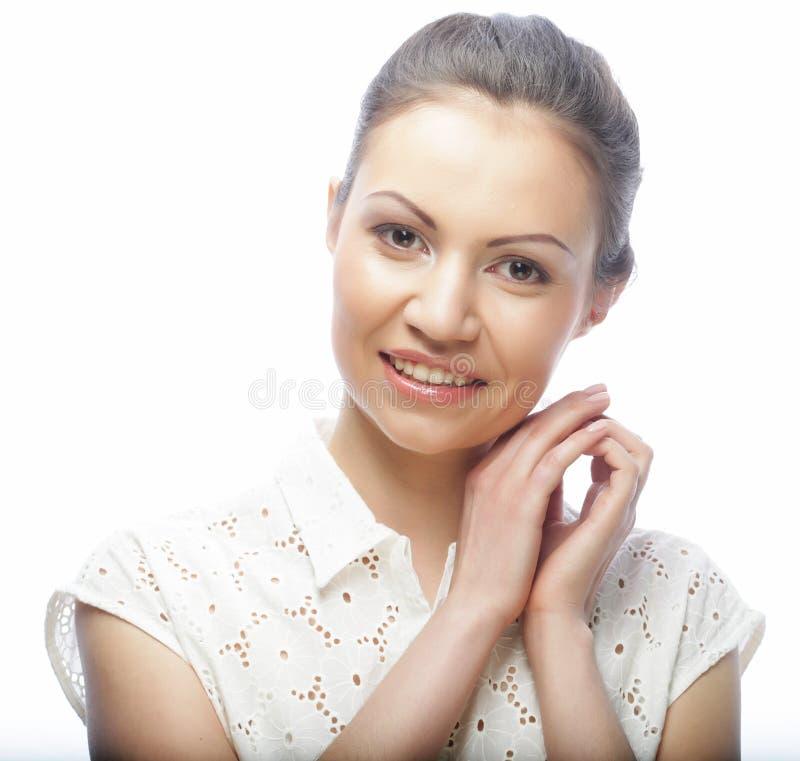 Styl życia, piękno i ludzie pojęć: młoda kobieta z czystym sk fotografia royalty free