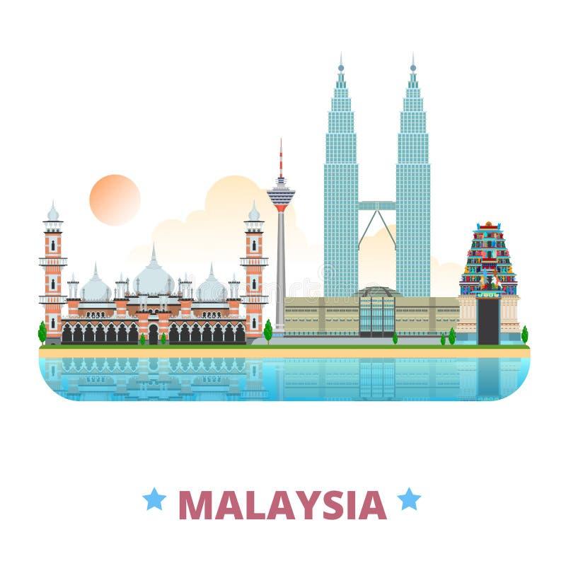 Styl för tecknad film för lägenhet för mall för Malaysia landsdesign stock illustrationer