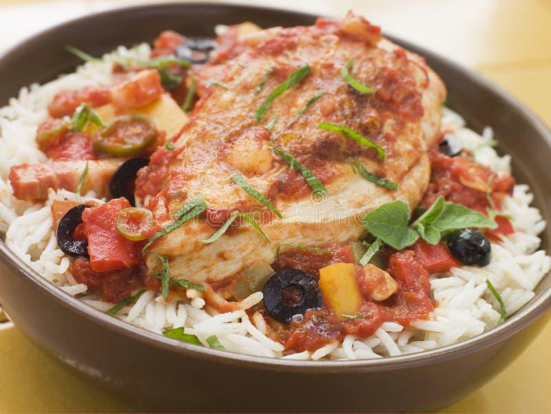 styl hiszpański ryżowy kurczaka fotografia royalty free