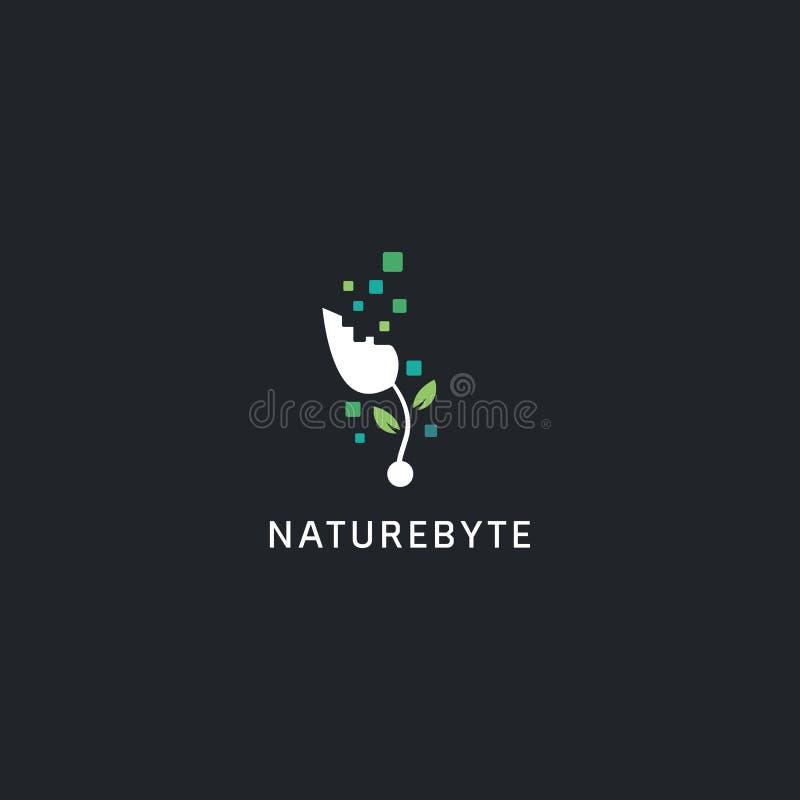 Styl logo technologii cyfrowej, symbol ikony logo roślin typu bajt naturalny z abstrakcyjną ilustracją bajtową ilustracji