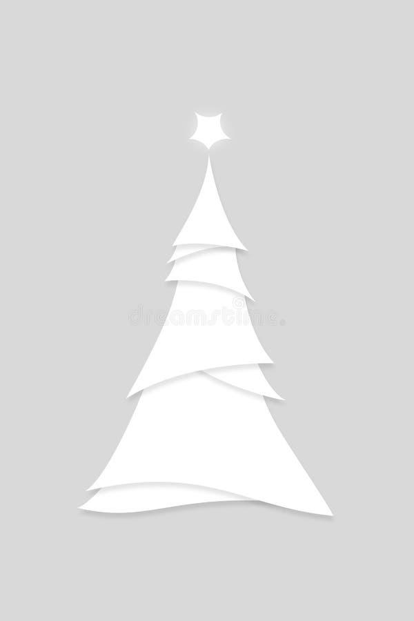 Styl miniaturowy Nowoczesna Biała choinka Ilustracja ilustracji