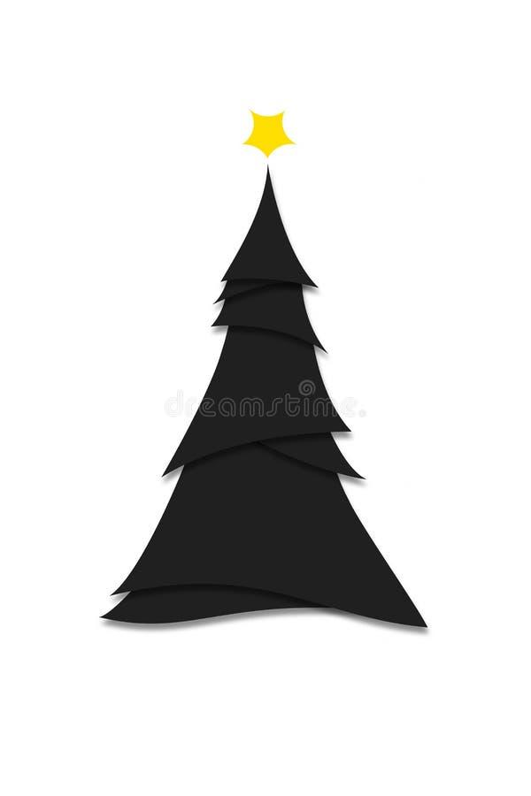 Styl miniaturowy Nowoczesna czarna choinka Ilustracja ilustracja wektor