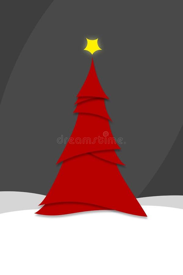 Styl miniaturowy Nowoczesna, czerwona choinka Ilustracja ilustracji