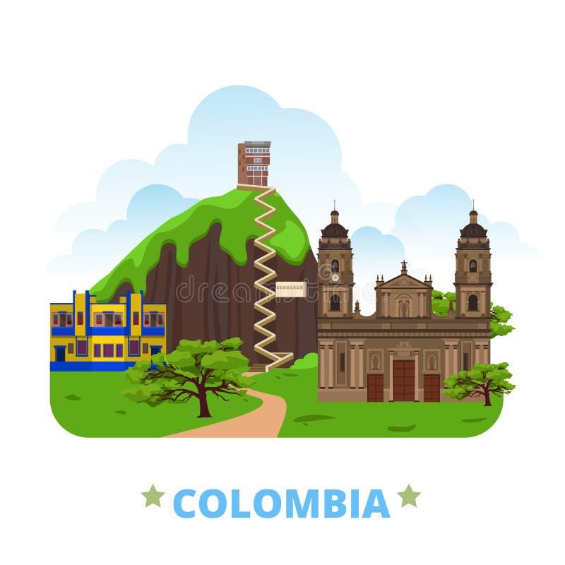 Styl plano de la historieta de la plantilla del diseño del país de Colombia stock de ilustración