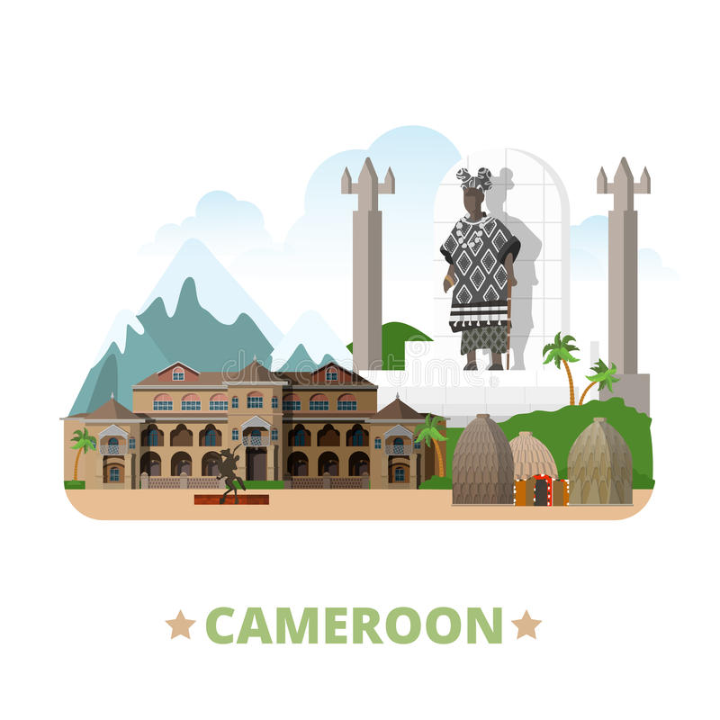 Styl plano de la historieta de la plantilla del diseño del país del Camerún ilustración del vector