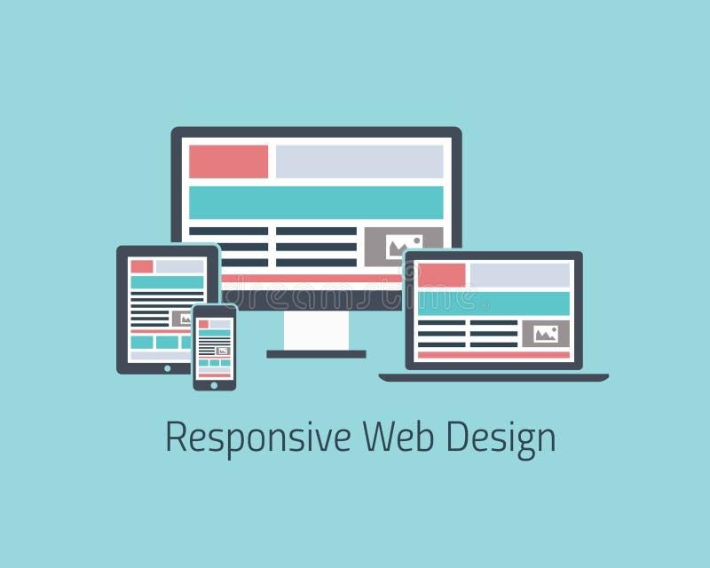 Styl plano del diseño web del vector responsivo del desarrollo stock de ilustración