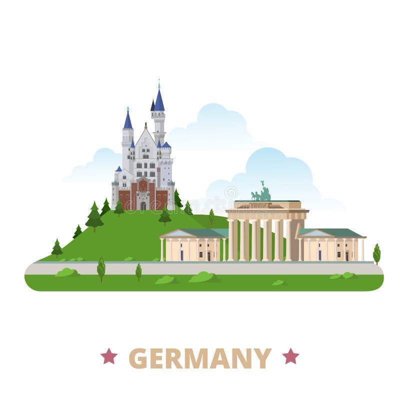 Styl plat de bande dessinée de calibre de conception de pays de l'Allemagne illustration stock