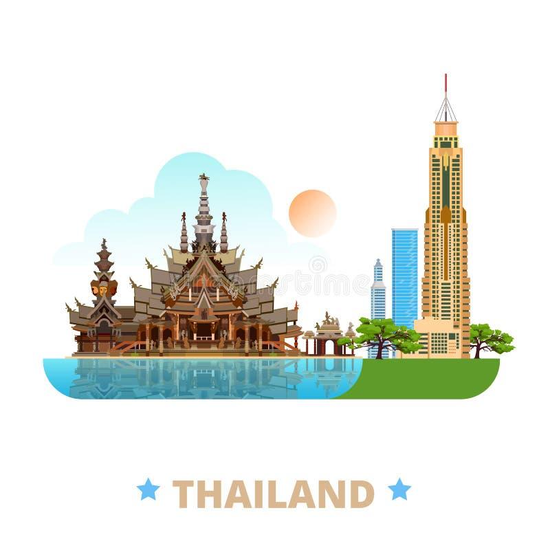 Styl plat de bande dessinée de calibre de conception de pays de la Thaïlande illustration libre de droits