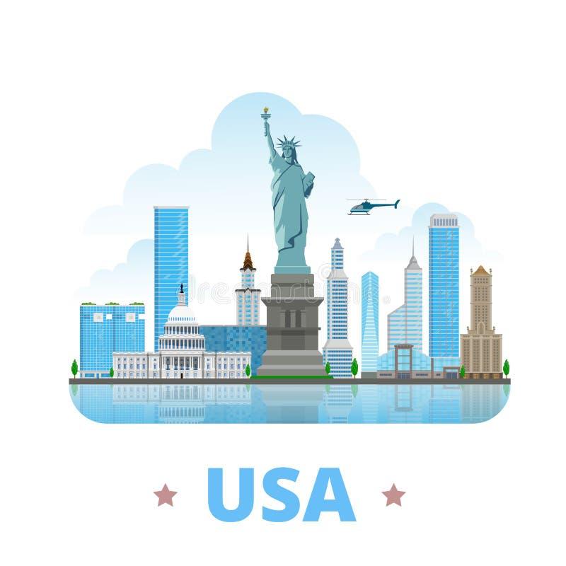 Styl plat de bande dessinée de conception de pays des Etats-Unis Etats-Unis illustration libre de droits