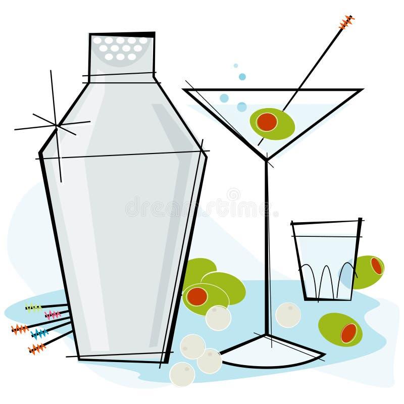 styl retro martini ilustracja wektor
