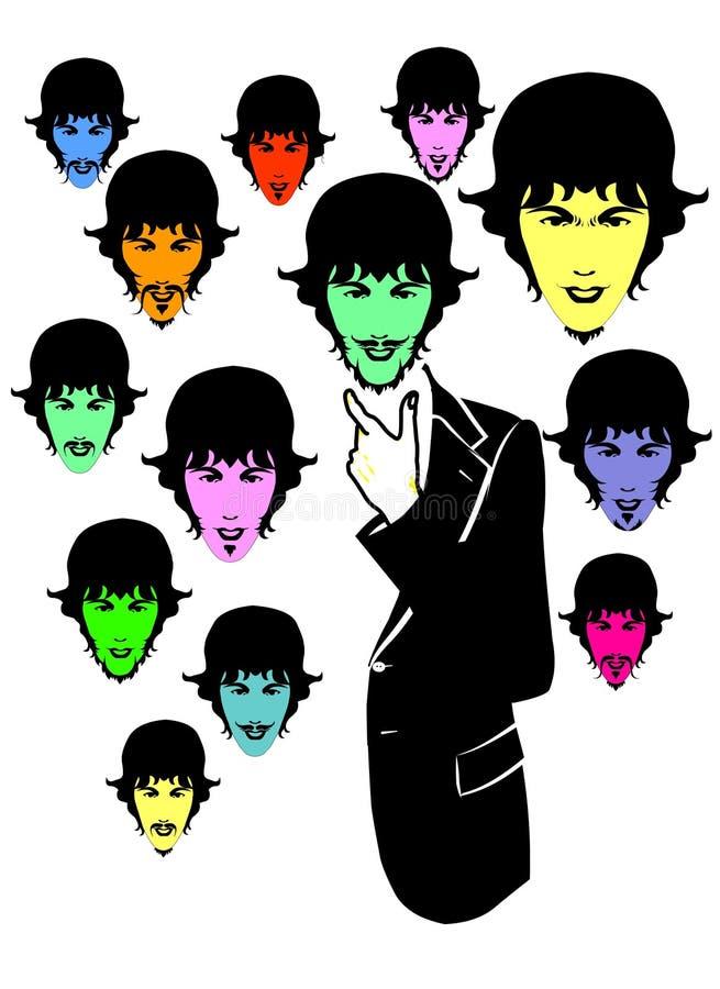 styl zróżnicowany twarz człowieka royalty ilustracja