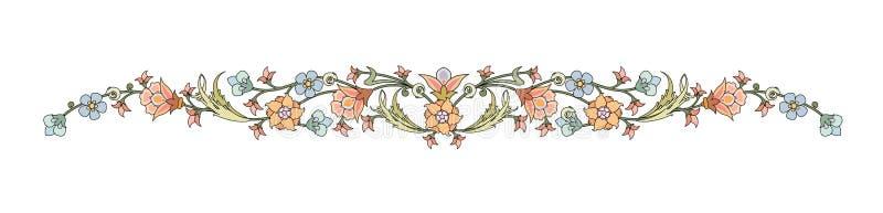Style élégant décoré par cadre oriental abstrait de feuilles et de fleurs d'usine illustration libre de droits