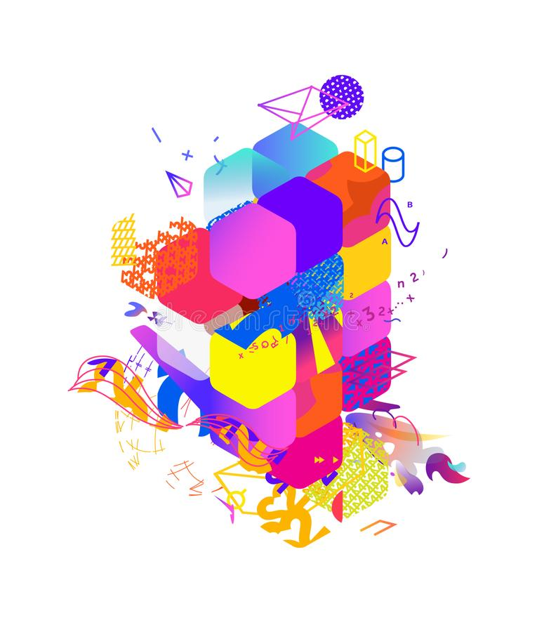 The style of abstract art, Suprematism, modern street art and graffiti. The design element is isolated on a white background,. Suitable for printing and web stock photos