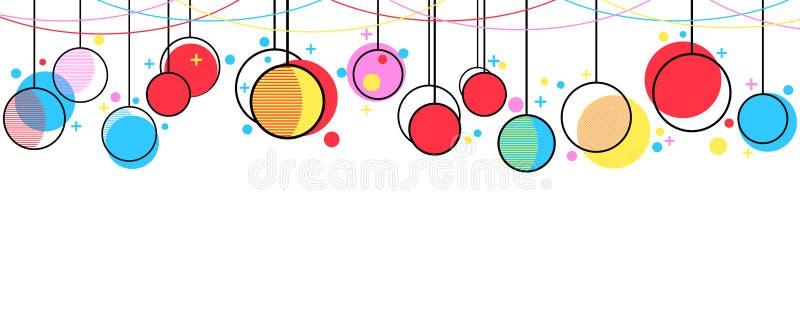 Style accrochant de Memphis de boules de Noël Fond de célébration avec des guirlandes Vecteur illustration libre de droits