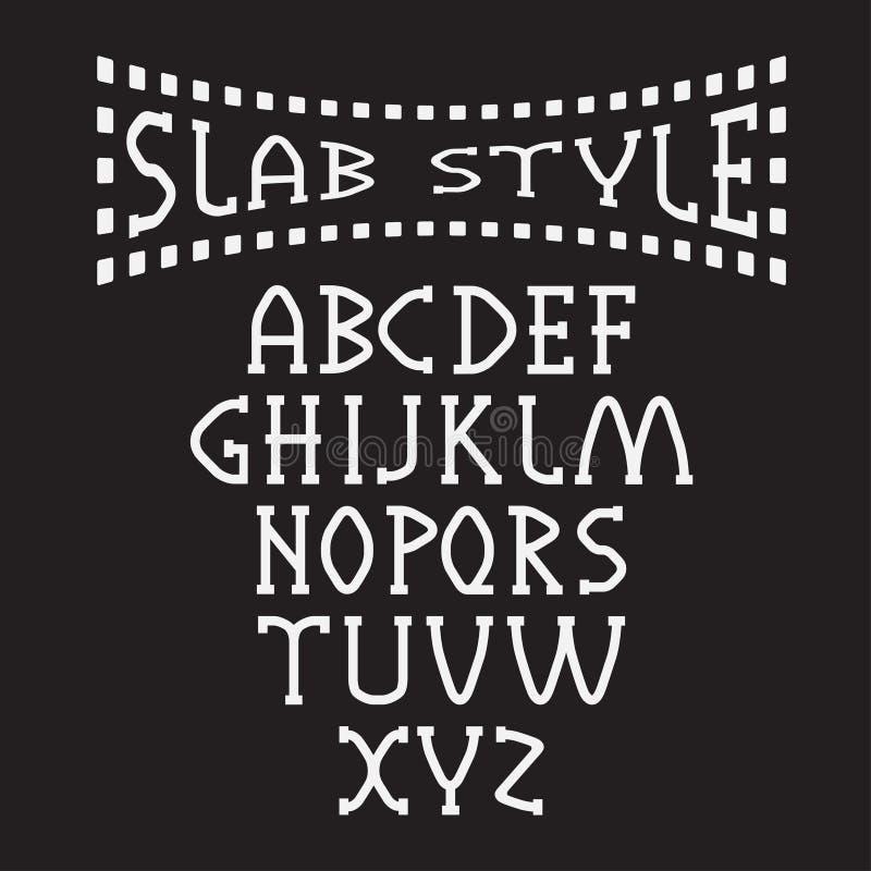 Style alphabet art. Slab style alphabet book old vector illustration