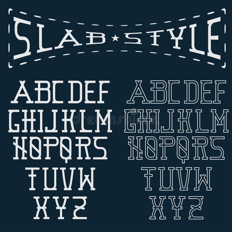 Style alphabet art. Slab style alphabet line paper vector illustration
