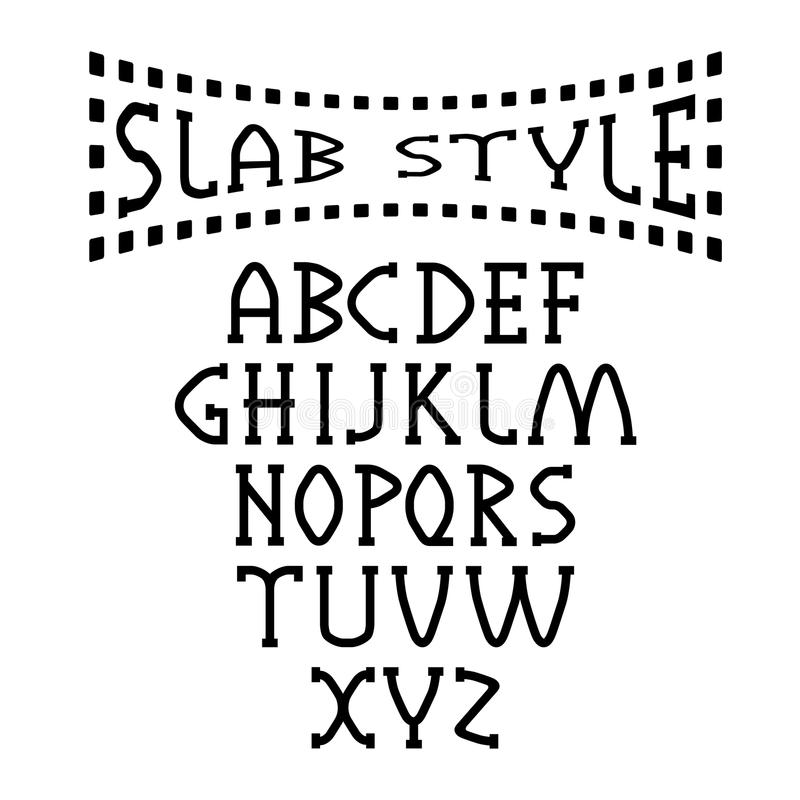 Style alphabet art. Slab style alphabet old type stock illustration