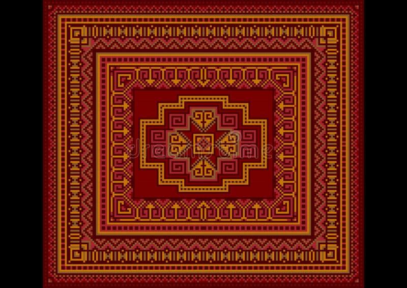 style ancien lumineux de tapis en rouge et des nuances de bourgogne illustration stock. Black Bedroom Furniture Sets. Home Design Ideas