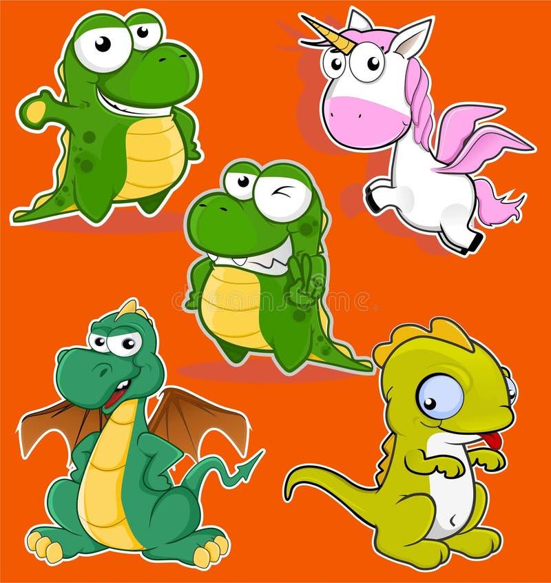Style animal drôle de bande dessinée de dragon de Cutes image stock