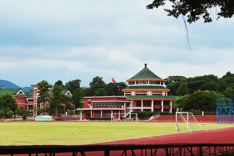 Style architectural traditionnel chinois du campus de collège photos libres de droits