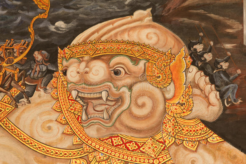 Style Art Painting On WallThai Temple Murals. Royalty Free Stock Photography